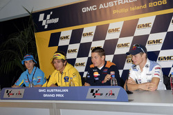 Chris Vermeulen, Suzuki; Valentino Rossi, Yamaha; Nicky Hayden, Repsol Honda; Casey Stoner, LCR Honda