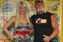 Brooke Hogan and her father Hulk Hogan pose for pictures following a press confrence