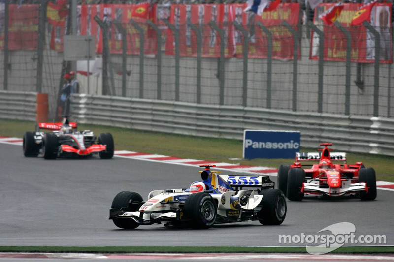 Rubens Barrichello leads Michael Schumacher