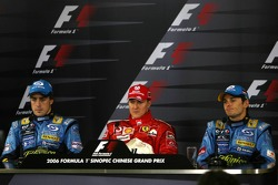 Press conference: race winner Michael Schumacher with Fernando Alonso and Giancarlo Fisichella