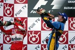 Подіум: шампанське для Фернандо Алонсо та Феліпе Масси