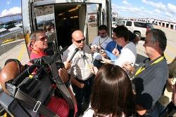 NASCAR NEXTEL Cup Series Director John Darby talks to the media