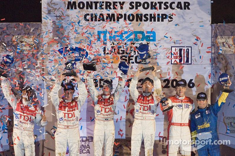 Podium en LMP1 : Rinardo Capello et Allan McNish vainqueurs ; Frank Biela et Emanuele Pirro pour la deuxième place ; Nicolas Minassian et Harold Primat pour la troisième place