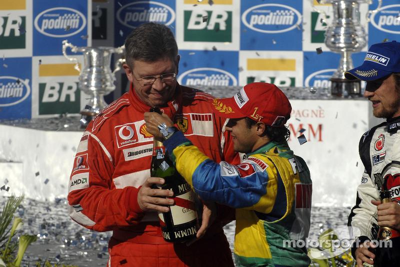 Podium: champagne for Felipe Massa and Ross Brawn