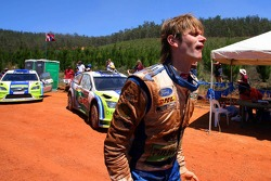 Marcus Gronholm after rolling his car while in the lead