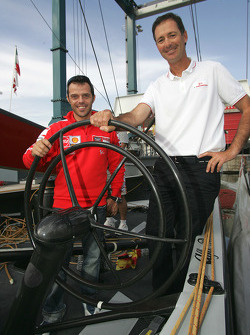 Visit to America's Cup sailing event's Luna Rossa Challenge: Loris Capirossi and skipper Francesco de Angelis