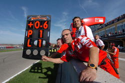 Ducati team members about to celebrate victory