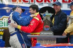 Victory lane: Tony Stewart congratulates Kevin Harvick