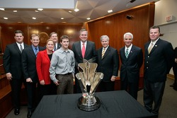 NASCAR Vice President of Racing Operations Steve O'Donnell, Rusty Wallace, ISC President Lesa France Kennedy, Florida Commissioner of Agriculture and Consumer Services Charles Bronson, Kasey Kahne, Florida Governor Jeb Bush, Florida Chief Financial Office