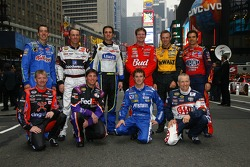 The top 10 drivers in the NASCAR NEXTEL Cup Series pose in Times Square