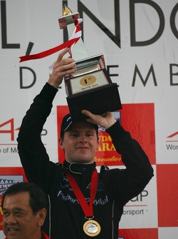 Podium: race winner Jonny Reid celebrates