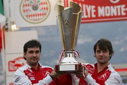 Podium: Winners Sébastien Loeb and Daniel Elena celebrate with trophy