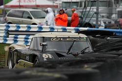 Crash for #61 Exchange Traded Gold AIM Autosport Lexus Riley: Mark Wilkins, David Empringham, Brian Frisselle, Burt Frisselle