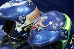 Chris Atkinson and Glenn MacNeall's helmets