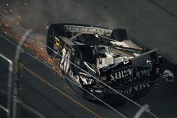 Last lap crash: Clint Bowyer flips over