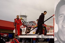 The car of Elliott Sadler is loaded back in the hauler after the race