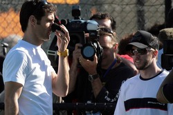 Formula One drivers charity tennis match: Mark Webber, Red Bull Racing and Nick Heidfeld, BMW Sauber F1 Team
