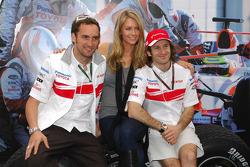 Franck Montagny, Test Driver, Toyota F1 Team, Jennifer Hawkins, Former Miss Universe and Jarno Trulli, Toyota Racing