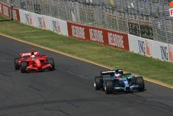 Rubens Barrichello, Honda Racing F1 Team and Felipe Massa, Scuderia Ferrari