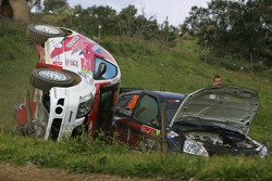 Gilles Schammel and Renaud Jamoul, JPS Junior Team, Citroen C2 R2, flies off the track at speed and slams into the side of the Renault Clio of Michal Kosciuszko