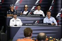 FIA press conference: Nico Rosberg, WilliamsF1 Team, Nelson A. Piquet, Test Driver, Renault F1 Team, Takuma Sato, Super Aguri F1, Nick Heidfeld, BMW Sauber F1 Team, David Coulthard, Red Bull Racing