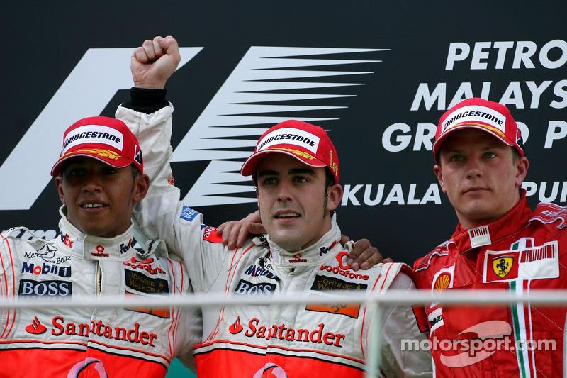 2007 : 1. Fernando Alonso, 2. Lewis Hamilton, 3. Kimi Räikkönen