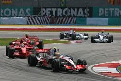 Lewis Hamilton, McLaren Mercedes, MP4-22 leads Felipe Massa, Scuderia Ferrari, F2007