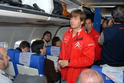 Sébastien Loeb in the airplane from Buenos Aires to Cordoba