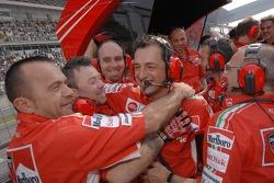 Ducati Marlboro team members celebrate victory