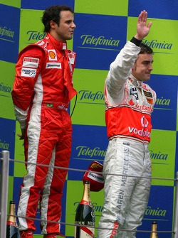 Podium: race winner Felipe Massa with Fernando Alonso