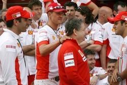 Victory celebrations at Ferrari: Marc Gene, Test Driver, Scuderia Ferrari, Michael Schumacher, Scuderia Ferrari, Advisor, Jean Todt, Scuderia Ferrari, Ferrari CEO, Felipe Massa, Scuderia Ferrari