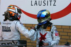 Daniel la Rosa, Mücke Motorsport AMG Mercedes, congratulates Alexandros Margaritis, Persson Motorsport AMG Mercedes