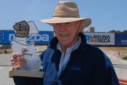 Dan Gurney receives commemorative plague for his induction into the newly established Legends of Laguna Seca