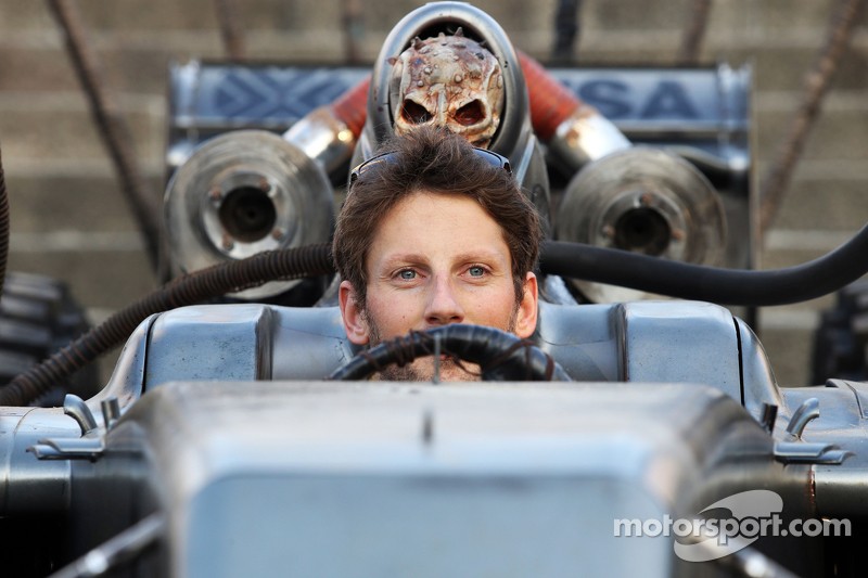 Romain Grosjean, Lotus F1 Team with special race overalls and car livery to promote the film Mad Max: Fury Road