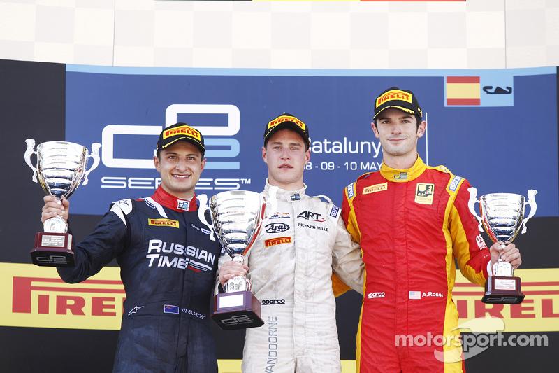 Stoffel Vandoorne, ART Grand Prix; Mitch Evans, RUSSIAN TIME, und Alexander Rossi, Racing Engineering
