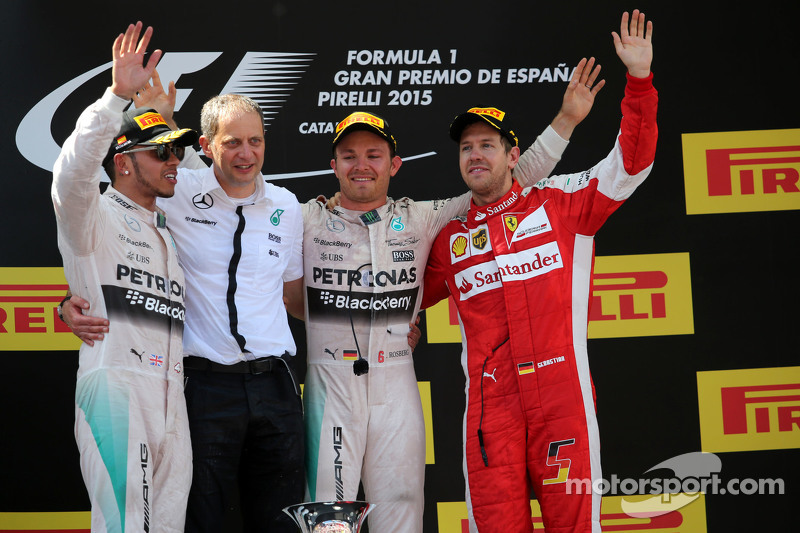 Lewis Hamilton, Mercedes AMG F1 Team and Nico Rosberg, Mercedes AMG F1 Team and Sebastian Vettel, Scuderia Ferrari