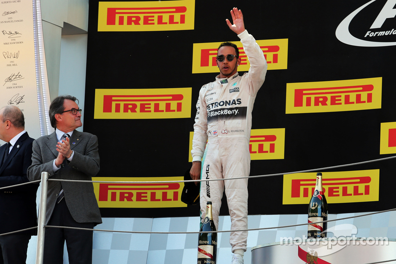 Lewis Hamilton, Mercedes AMG F1 celebrates his second position on the podium