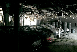 burnt remains of Leavine Family Racing shop