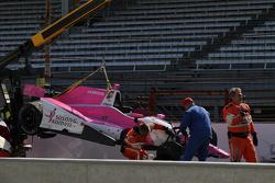 crashed mobil dari Pippa Mann, Dale Coyne Racing Honda