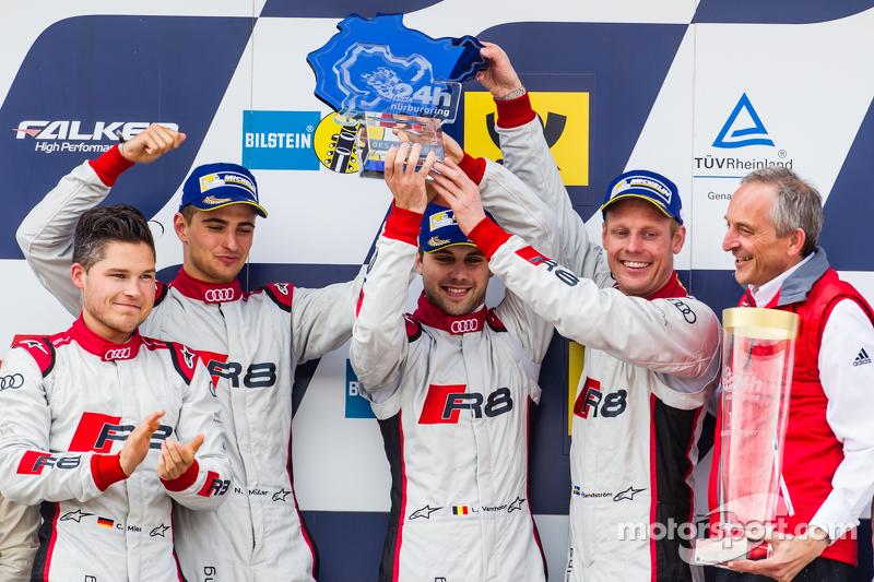 Podium: race winners #28 Audi Sport Team WRT Audi R8 LMS: Christopher Mies, Edward Sandström, Nico M