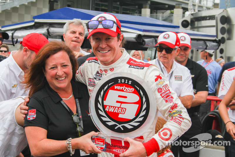 Scott Dixon, Chip Ganassi Racing, feiert die Pole-Position