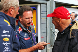 (L to R): Dr Helmut Marko, Red Bull Motorsport Consultant with Christian Horner, Red Bull Racing Team Principal and Niki Lauda, Mercedes Non-Executive Chairman