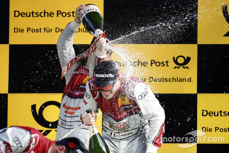 Podium: Jamie Green, Audi Sport Team Rosberg, Audi RS 5 DTM, und Edoardo Mortara, Audi Sport Team Ab