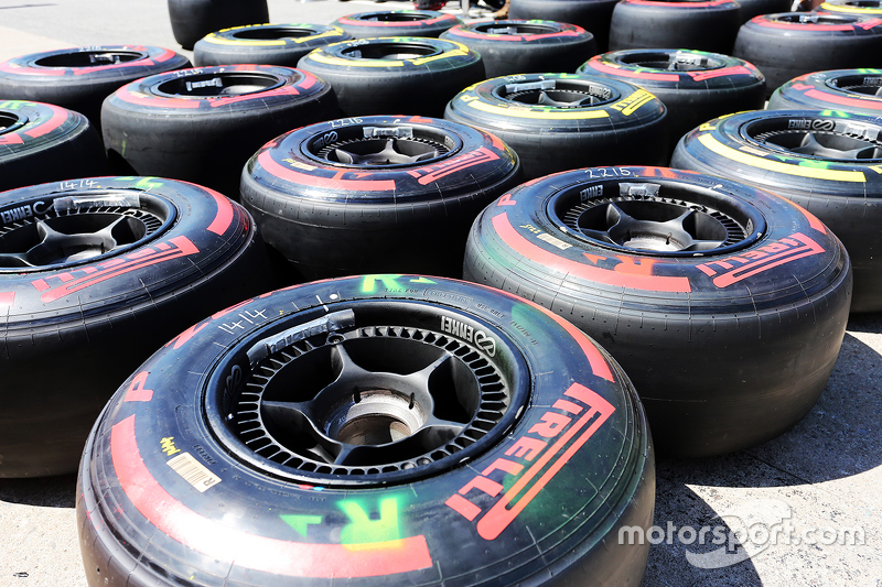 Pirelli tyres used by McLaren in the pits