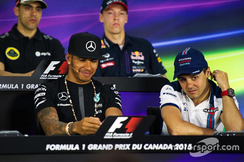Lewis Hamilton, Mercedes AMG F1 and Felipe Massa, Williams in the FIA Press Conference