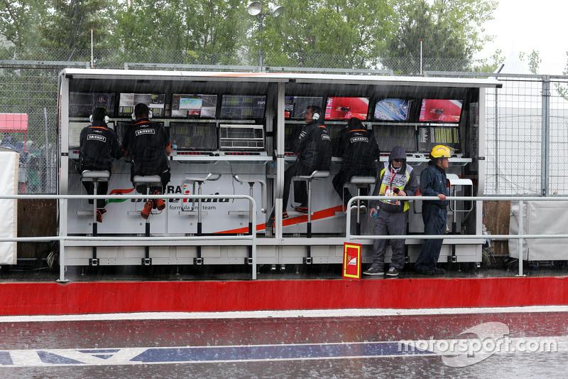Sahara Force India F1 Team pit gantry in the rain
