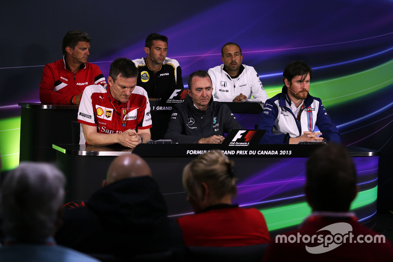 FIA Press Conference, Manor Marussia F1 Team Chief Executive Officer; Matthew Carter, Lotus F1 Team CEO; Matt Morris, McLaren Engineering Director; James Allison, Ferrari Chassis Technical Director; Paddy Lowe, Mercedes AMG F1 Executive Director, Will