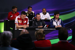 The FIA Press Conference, Manor Marussia F1 Team Chief Executive Officer; Matthew Carter, Lotus F1 Team CEO; Matt Morris, McLaren Engineering Director; James Allison, Ferrari Chassis Technical Director; Paddy Lowe, Mercedes AMG F1 Executive Director, Will