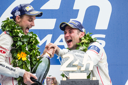 LMP1 podium: champagne for Nick Tandy and Earl Bamber