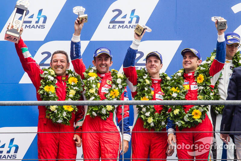 LMGT Pro podium: second place #71 AF Corse Ferrari 458 GTE: Davide Rigon, James Calado, Olivier Beretta